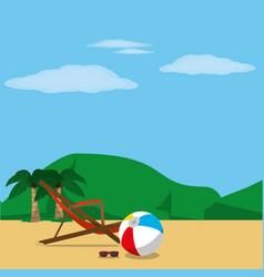 Beach and sunchair design vector