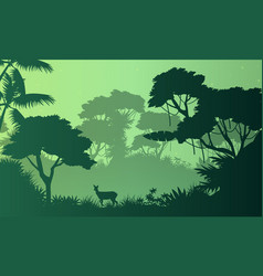 Beauty landscape jungle with deer silhouette vector