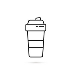 Black shaker cup thin line icon vector