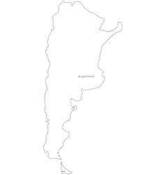 Black White Argentina Outline Map vector image
