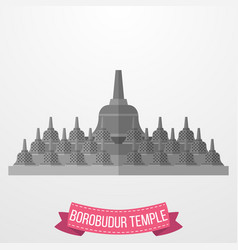 Borobudur temple icon on white background vector