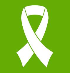 breast cancer awareness ribbon icon green vector image