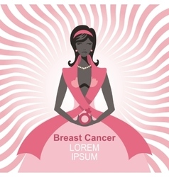 Breast Cancer AwarenessWoman silhouetteportrait vector image