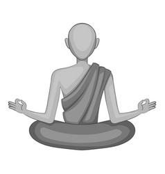 buddhist monk icon monochrome vector image