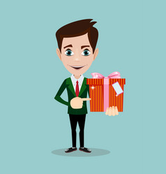 businessman holding a present vector image