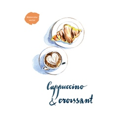 cappuccino croissant vector image