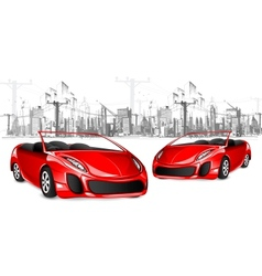 Car on Cityscape Background vector