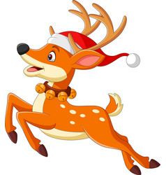 cartoon deer in a santa hat jumping vector image