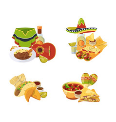 cartoon mexican food piles set isolated vector image