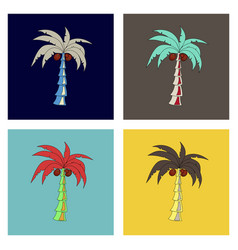 coconut hand drawn sketch with palm leaf sketch vector image