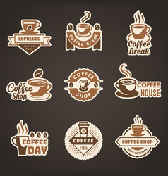 coffee logo mug with coffee beans symbols for vector image