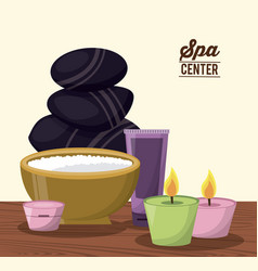 color poster of spa center with facial cream and vector image