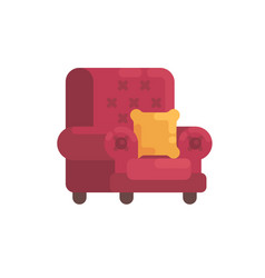 cozy red armchair with orange pillow home vector image
