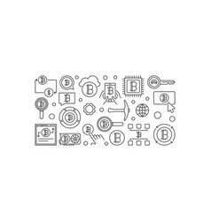 Cryptocurrency horizontal outline banner vector
