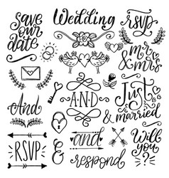Cute decorations for wedding invitations overlays vector