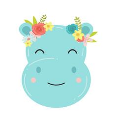 Cute hippopotamus in a wreath flowers raster vector