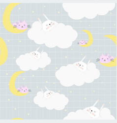 cute sweet dream rabbit in the cloud seamless vector image