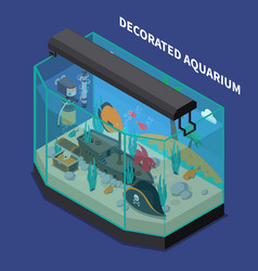 Decorated aquarium isometric composition vector