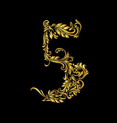 Decorated five digit on black vector