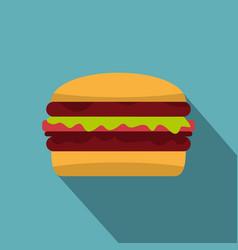 delicious hamburger icon flat style vector image