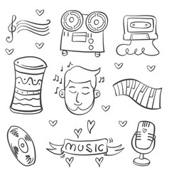 Doodle of musical instrument various vector