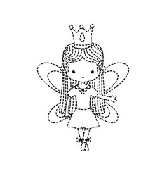 Dotted shape girl dancing ballet with straight vector