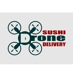 Drone quadrocopter icon drone sushi delivery text vector