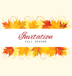 Fall invitation card design with leaves vector