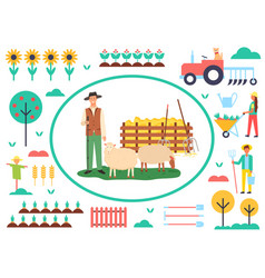 Farming man with sheep agriculture and animal vector