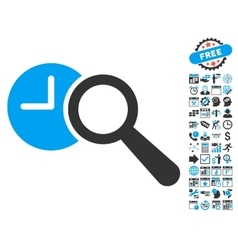 Find Time Flat Icon With Bonus vector image