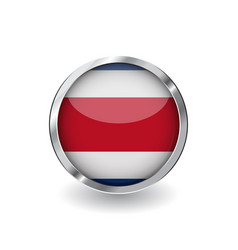 Flag of costa rica button with metal frame and vector