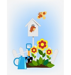 flower beds and bird house vector image