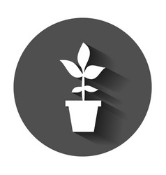 flower pot icon in flat style seedling flower vector image