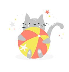 Funny grey cat hugging a beach ball vector