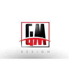 Gm g m logo letters with red and black colors and vector
