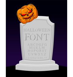 halloween font carved alphabet letters on vector image