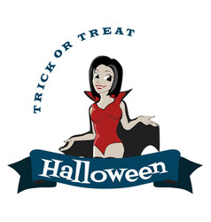 Halloween gothic party with vampire girl fun vector