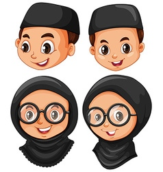 Head of muslim boy and girl vector