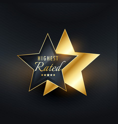 highest rated star label vector image