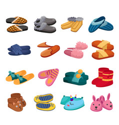 House slipper cartoon set icon isolated vector