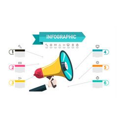 Infographic announcement concept with megaphone vector
