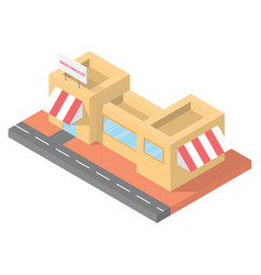 isometric restaurant cafe building block flat 3d vector image
