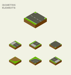Isometric way set of bitumen footpassenger vector