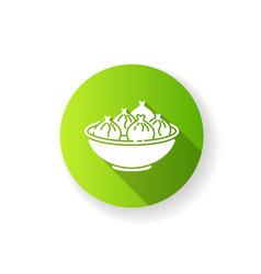 Khinkali green flat design long shadow glyph icon vector