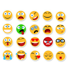 Large set of smiles emoticons and emojis vector