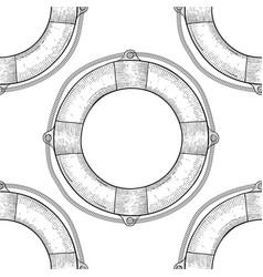 lifebuoy seamless pattern hand drawn sketch vector image