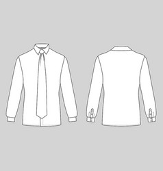 Long sleeve man shirt tie vector