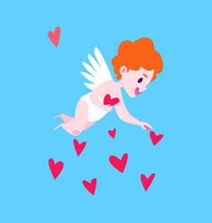 love angel gathering little hearts vector image