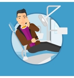 Man suffering in dental chair vector