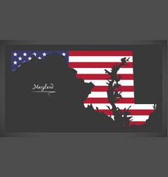 Maryland map with american national flag vector